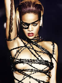 Rihanna topless and in hot see trough dress