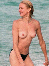 Cameron Diaz topless & hard nipples on beach