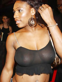 Serena Williams nipple slip and tits exposed in see throught dress