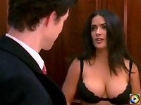 Salma Hayek strips and shows tits in her bra