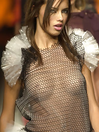 Adriana Lima visible nipples in see-through