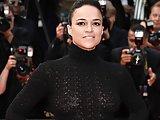 Michelle Rodriguez topless and see-through blouse in public