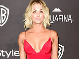 Kaley Cuoco cleavage and see-through blouse