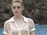 Emma Stone see-through blouse and upskirt in public