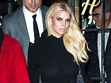 Jessica Simpson cleavage and see-through blouse