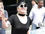 Lady Gaga see-through blouse in public